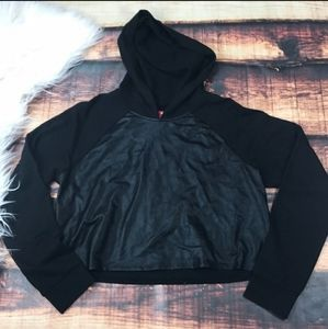 Pleather Panel Cropped Hoodie